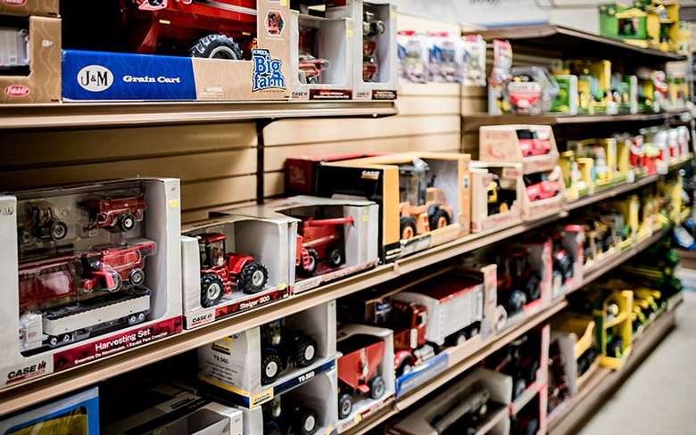 rows of car toys