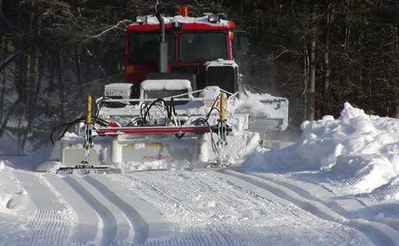 a snow grooming machine