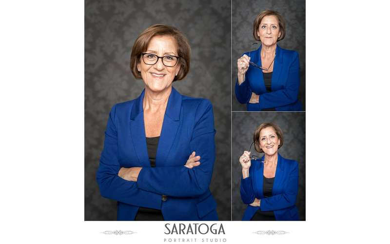 three photos of a woman posing for a professional photo session