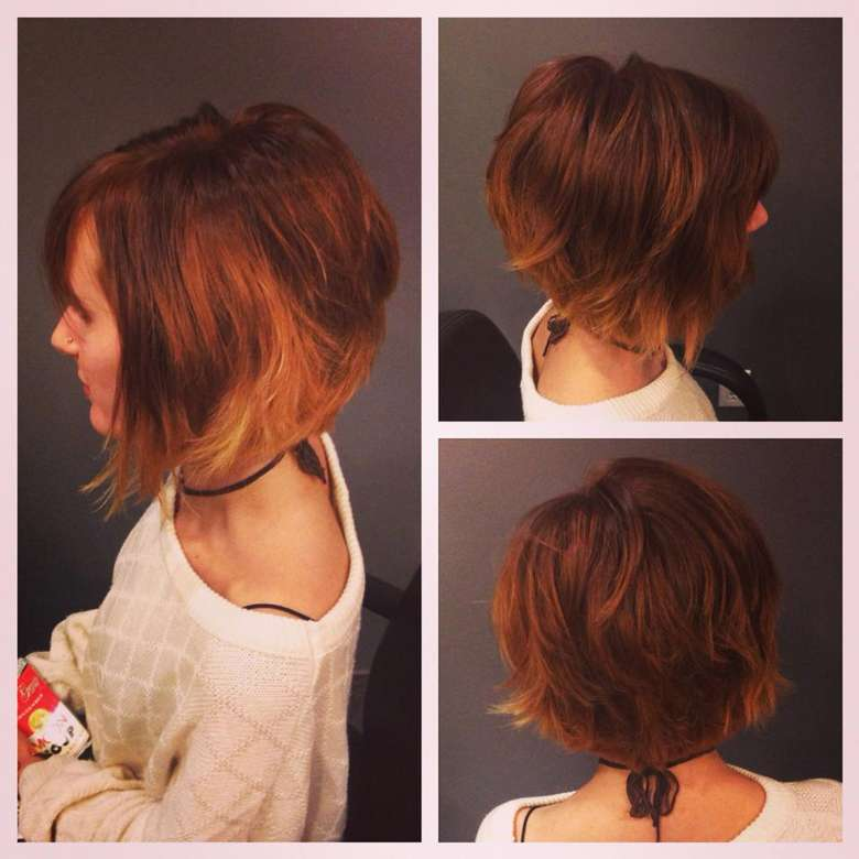 side and back views of a woman's textured bob hair cut
