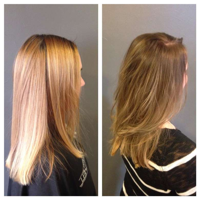 side views of a before and after photo showing change in hair color