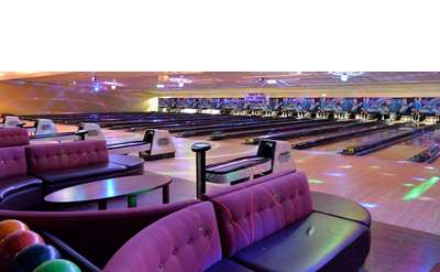 bowling alley with colorful light show
