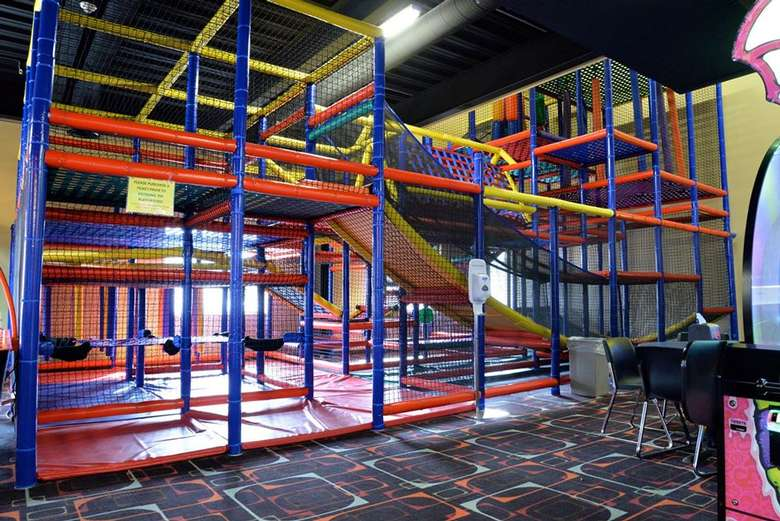 an indoor playground structure