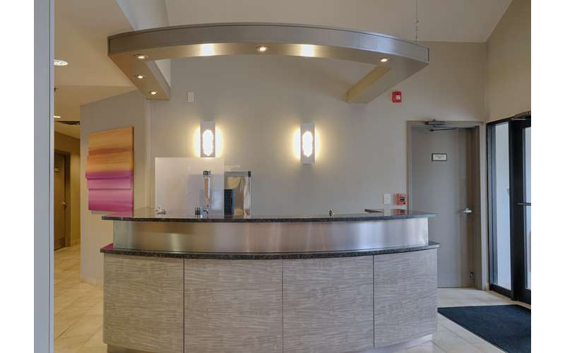 circular counter inside the Marriott Residence Inn
