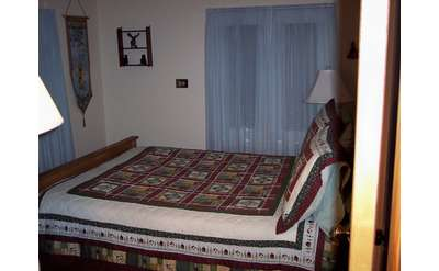 a bed in a bedroom with a checkered bedspread