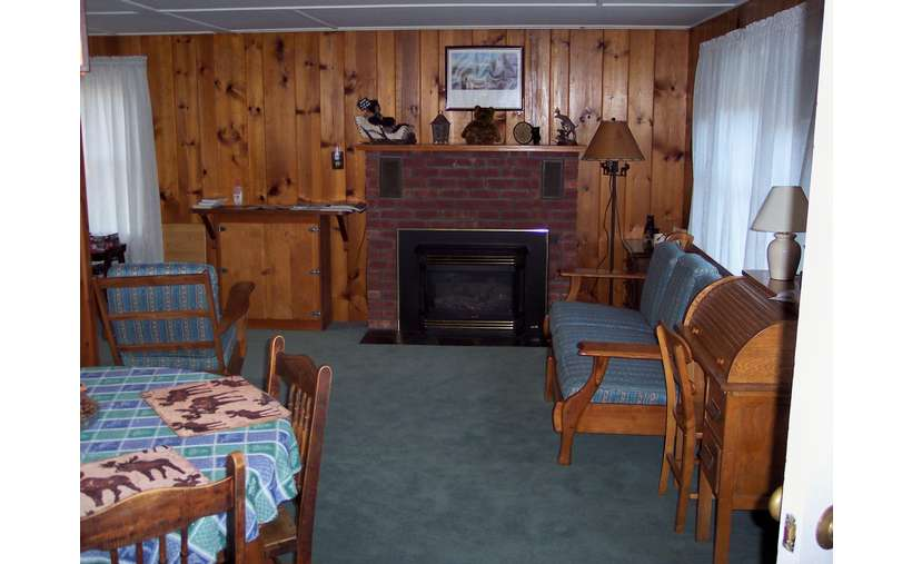 the inside of a living room in a cabin with wood panneling