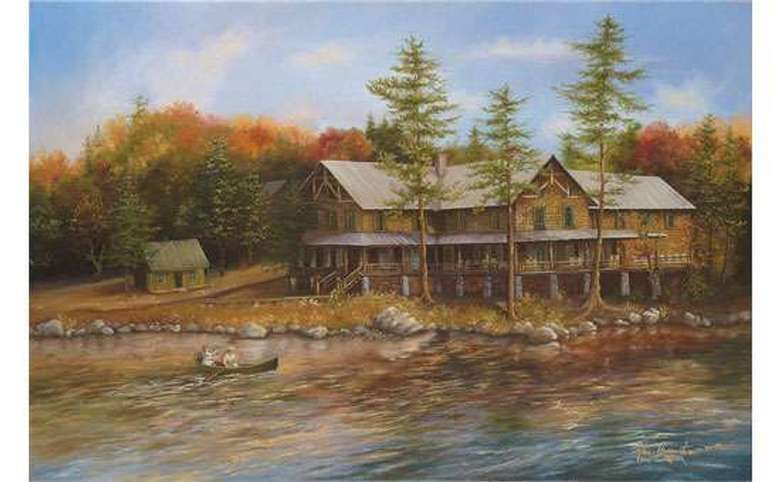 a painting of a large rustic building near a forest and lake