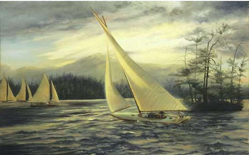 a painting of sailboats on a lake near an island