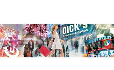 promo image of a woman walking through a mall