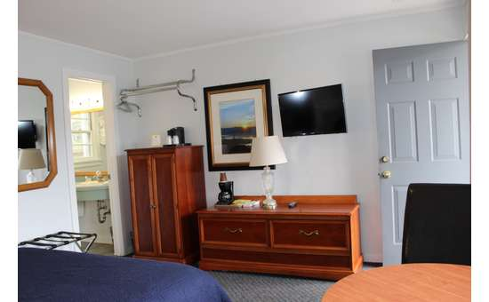 dressers and tv in a standard motel room