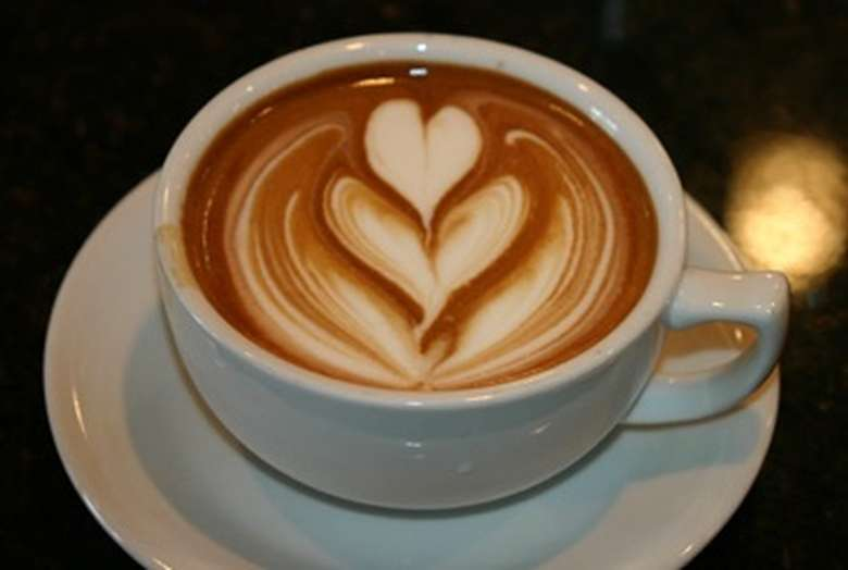 latte with a heart design
