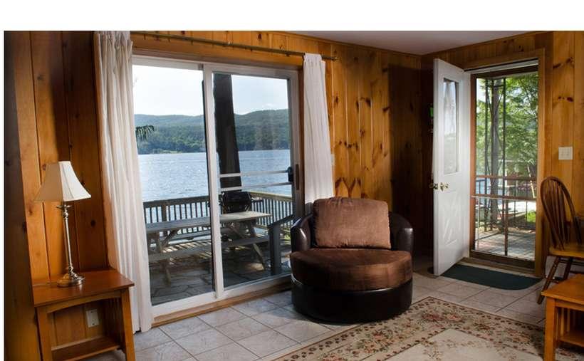 inside the resort with a door and sliding glass door