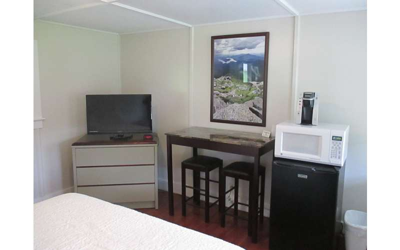 inside a bedroom with a small tv, painting on wall, microwave, mini fridge