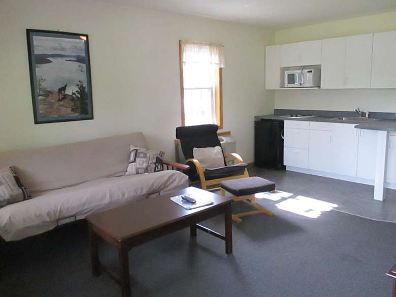 futon, chair, coffeetable