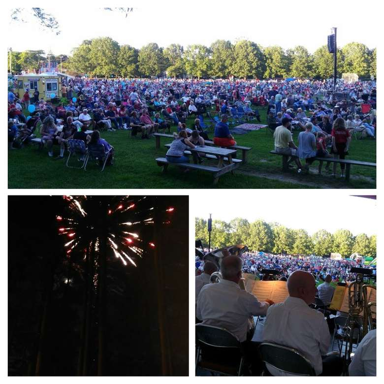 three photo collage of fourth of July performance and fireworks