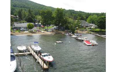 aerial view of resort with boats at docks