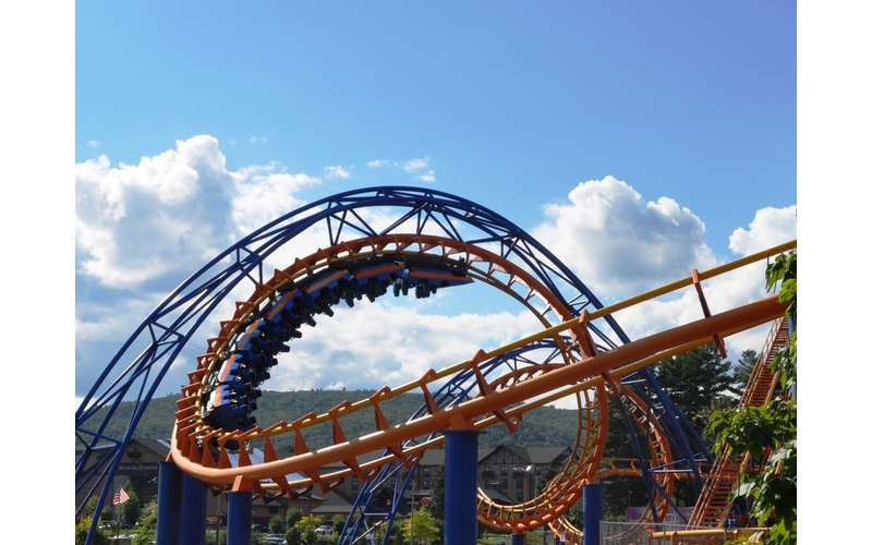 the blue and orange Steamin' Demon roller coaster