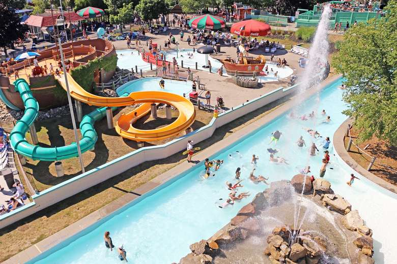 view from above of different water attractions including a lazy river and waterslides