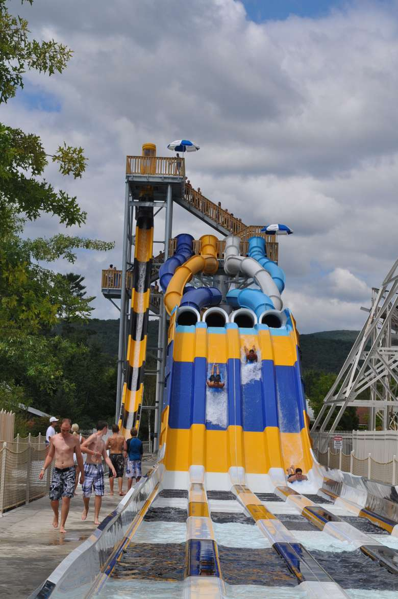 four side-by-side waterslides