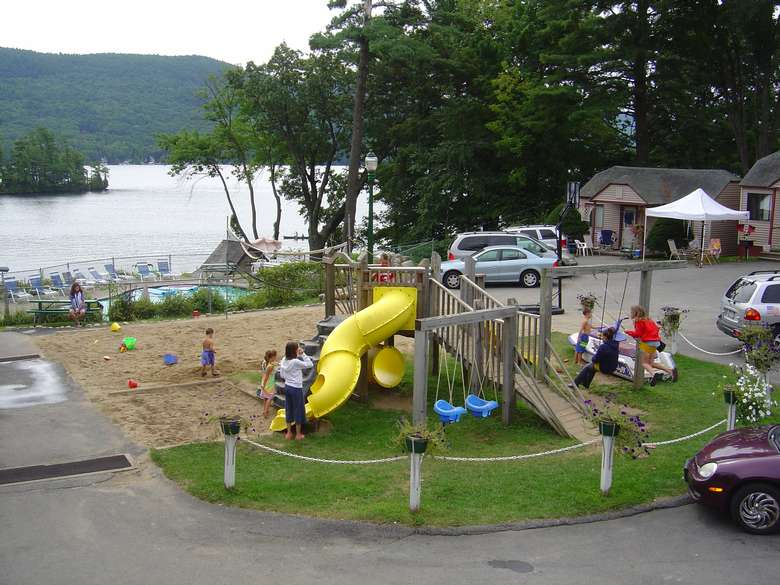 semi aerial view of playground