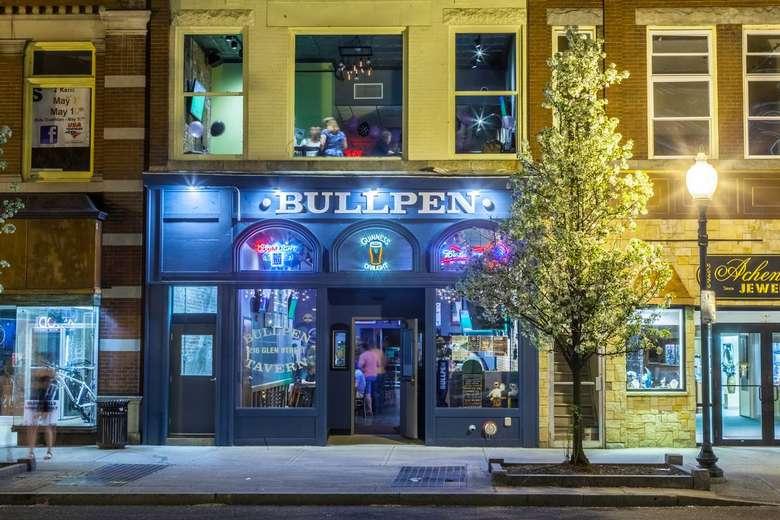 Bullpen from street at night