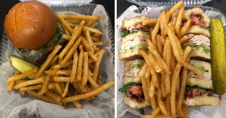 split image with a burger and fries and a club and fries and pickle