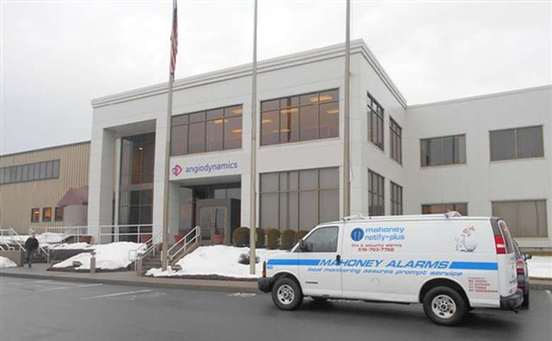 mahoney alarms van at a building