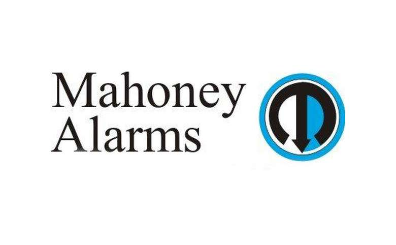 the logo for mahoney alarms