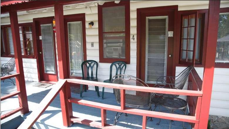 Exterior shot of motel doors.