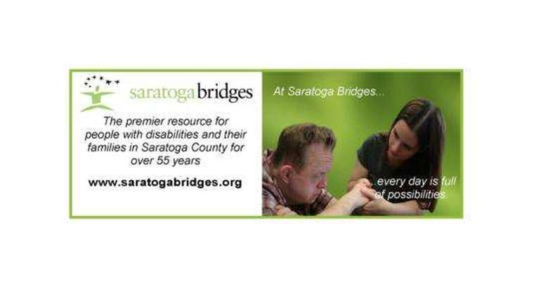saratoga bridges logo with a picture of a staff member and a client
