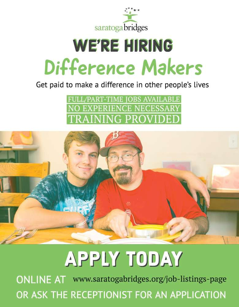 flyer advertising that saratoga bridges is hiring difference makers