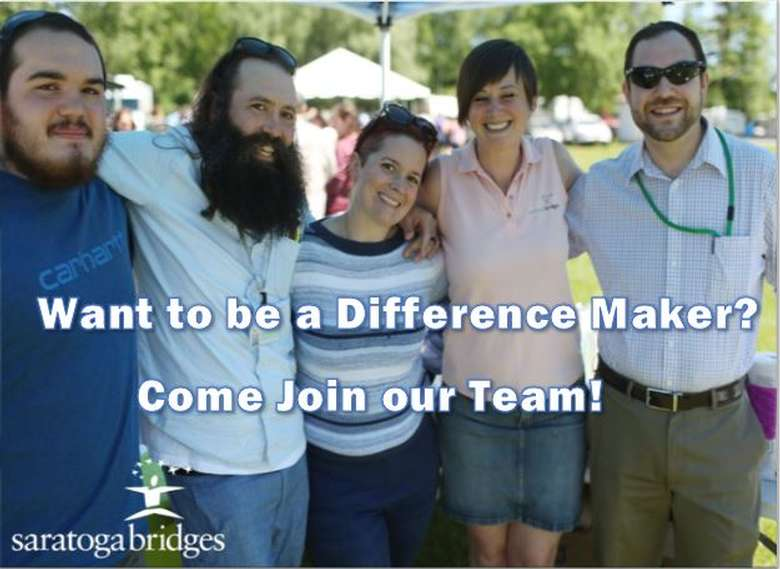 five people posing with text that says want to be a difference maker? come join our team!