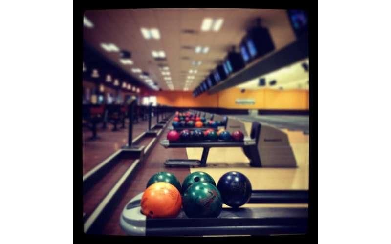 bowling balls on a machine