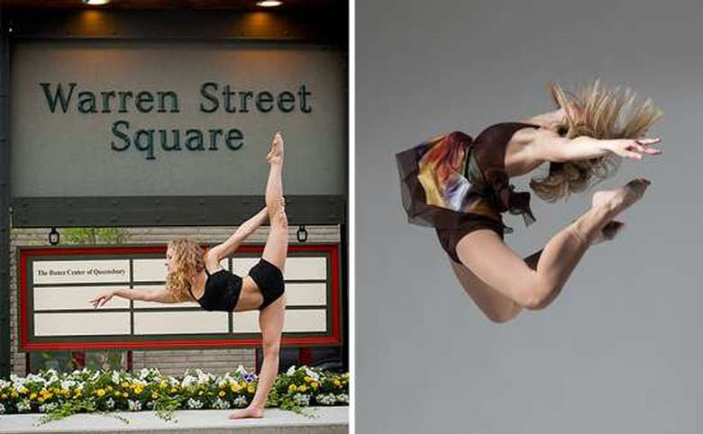 two images one of a girl with her leg in the air the other a girl jumping