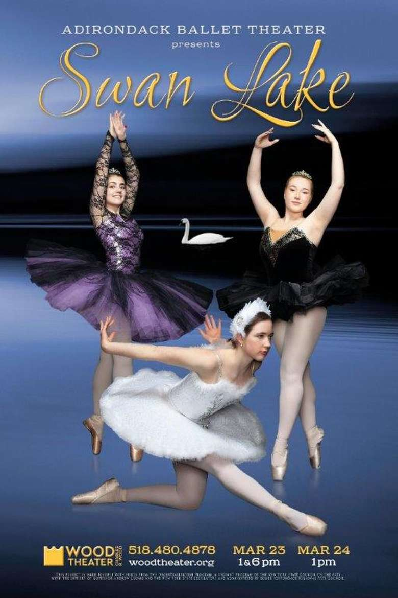 Ad for swan Lake with three dancers in front of a lake
