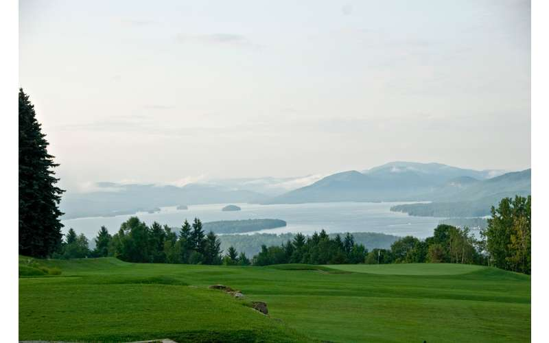 View of Lake George and surrounding mountains from the golf course
