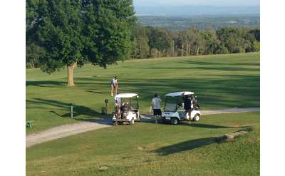 Two golf carts and four golfers surrounded by grass and trees