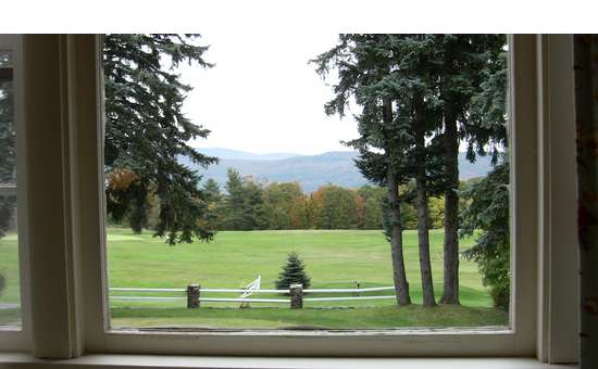 view out of a window onto a big field with trees and mountains behind it