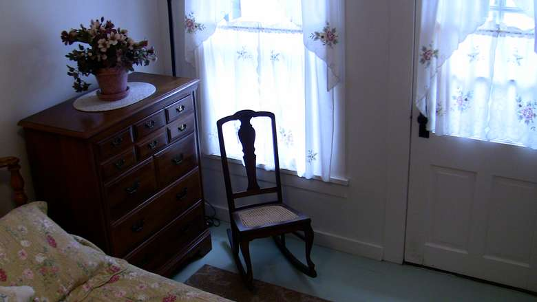 part of a bedroom with wooden chair, dresser, plant, window, door