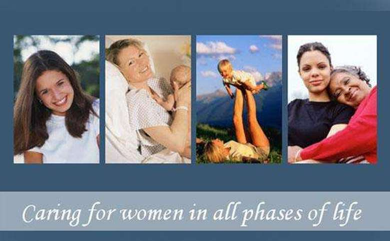 "Pictures of smiling women with phrase ""Caring for women in all phases of life"""