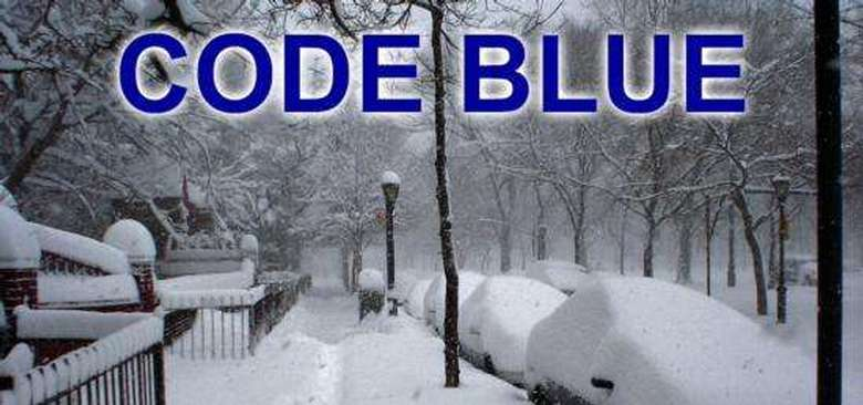 Words Code Blue over  image of a snowy day