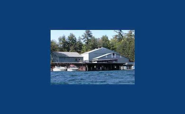 blue border surrounding a photograph of a marina