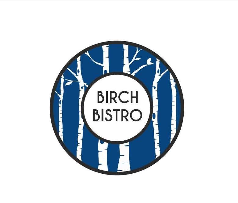 blue and white birch tree logo that says birch bistro