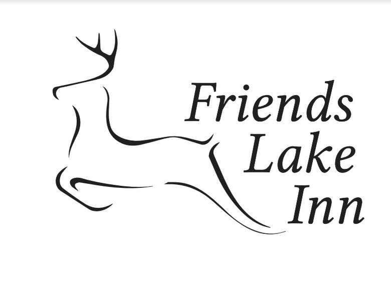deer logo and words that say friends lake inn