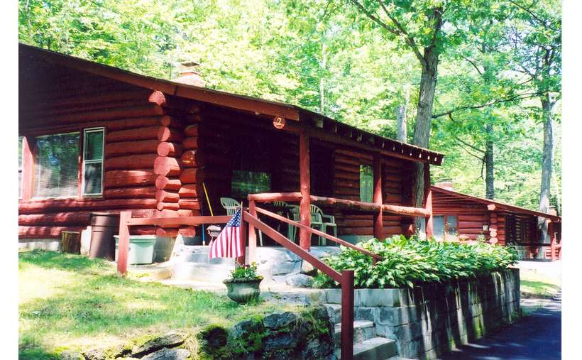 a cabin with a small American flag out front, plants, stairs