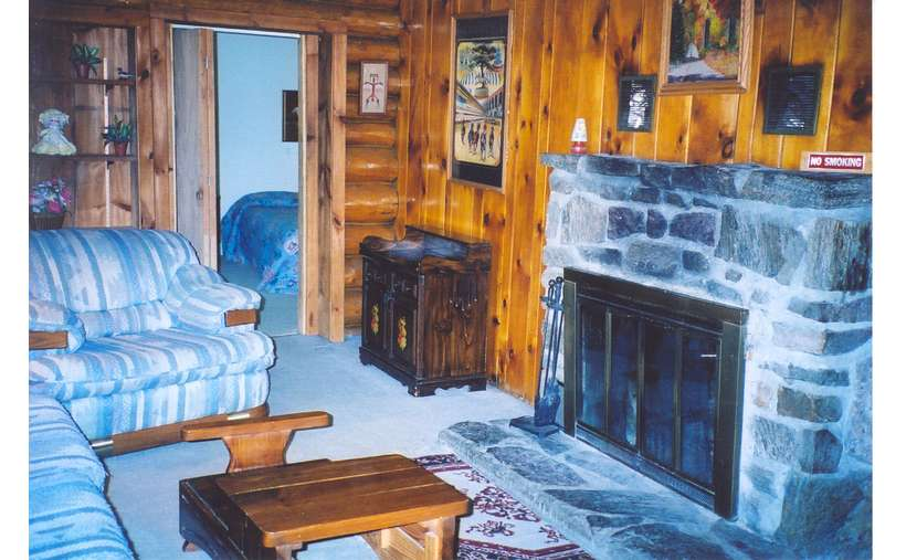 photo with bluish undertones of living room in cabin with fireplace
