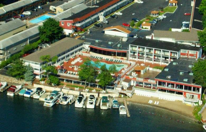 aerial view of the georgian lakeside resort property