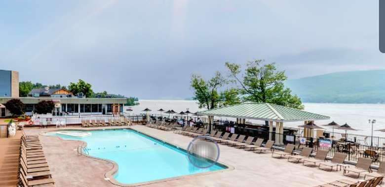 pool area overlooking lake george