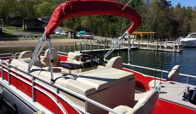 Interior of a red pontoon boat