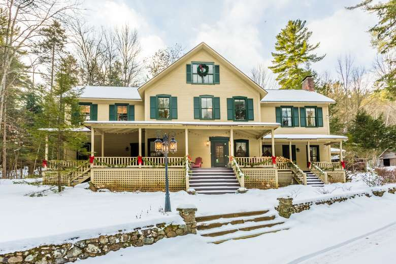bed and breakfast with light snow cover
